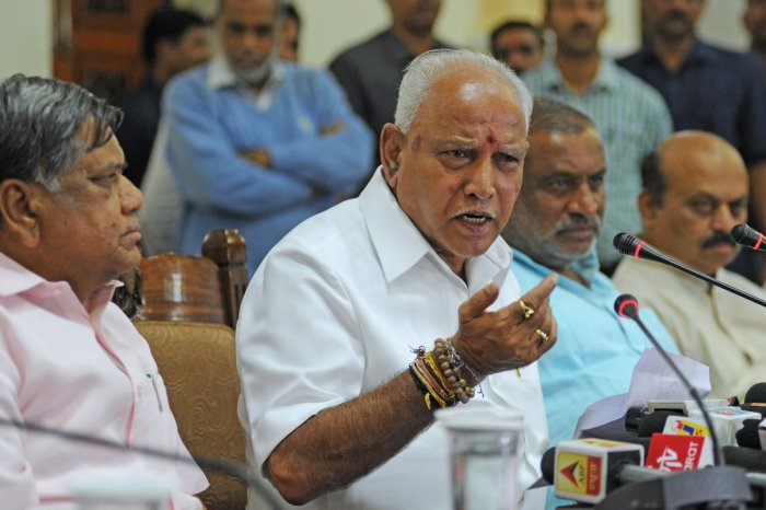 Chief Minister B S Yediyurappa holds a press conference soon after he was sworn in as the new chief minister of Karnataka at Vidhana Sounda in Bengaluru on Friday. DH Photo/Pushkar V