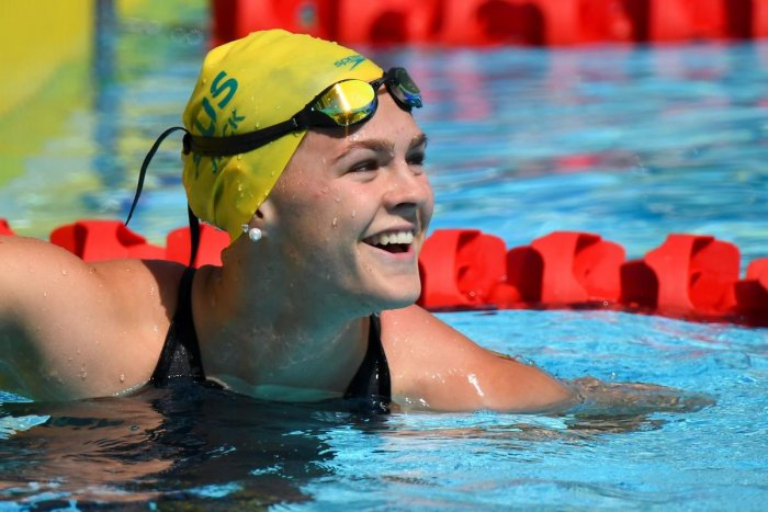 In this file photo taken on April 06, 2018 Australia's Shayna Jack smiles after the women's 50m freestyle qualifications during the 2018 Gold Coast Commonwealth Games. Photo credit: AFP
