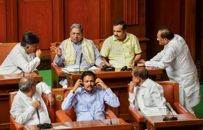 File picture of Siddaramaiah along with other party MLAs. Photo credit: PTI
