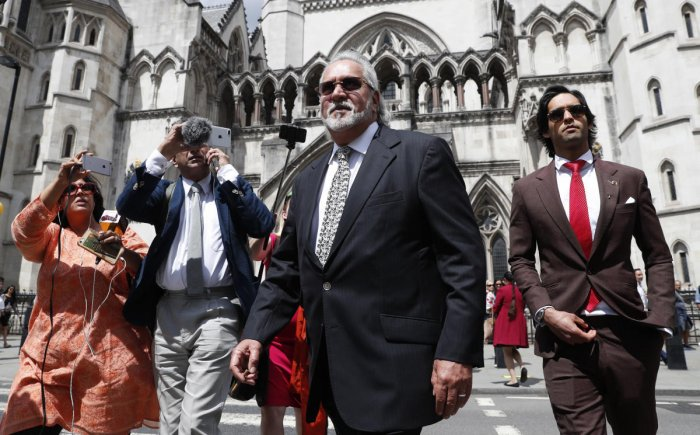 London: Indian tycoon Vijay Mallya, high Court appeal against extradition to India to face fraud charges at the Royal Courts of Justice in London, Tuesday, July 2, 2019. Mallya, whose business empire once included Kingfisher beer, left India two and a hal
