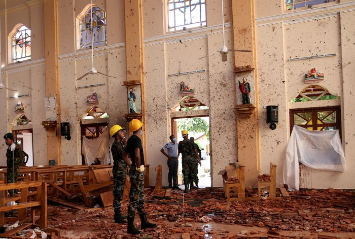 A view of the damage at St. Sebastian Catholic Church, after bomb blasts ripped through churches and luxury hotels. Photo credit: Reuters