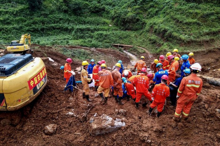 Official news agency Xinhua said Saturday night that 40 people have been rescued from the site in Shuicheng county, Guizhou province, according to the local emergency rescue command. (AFP Photo)