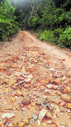 The road leading to Hendelu in Belthangady taluk is in pathetic condition.