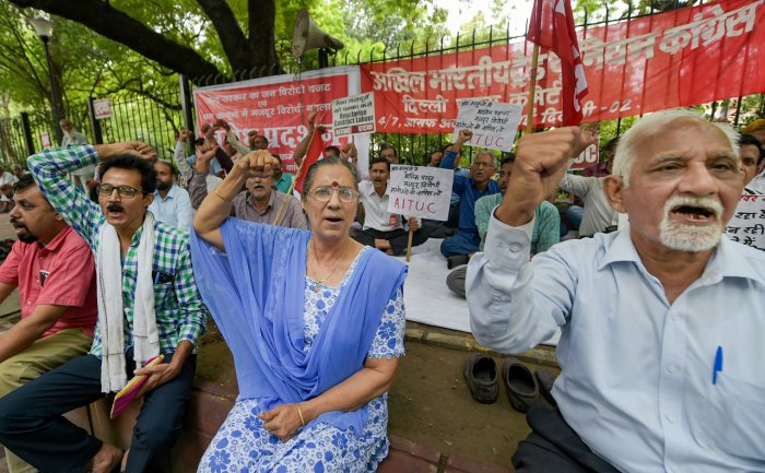 AITUC General Secretary Amarjeet Kaur shouts slogans along with others during a protest against Union Budget and the change in existing labour laws, at Jantar Mantar in New Delhi earlier this month (PTI File Photo)