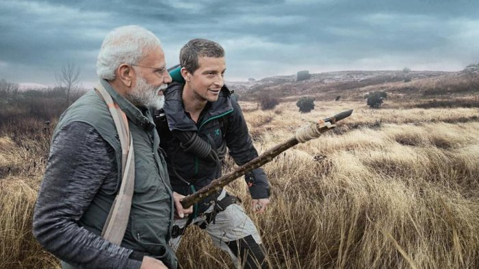 PM Modi and Bear Grylls in a scene from the Man vs Wild show.