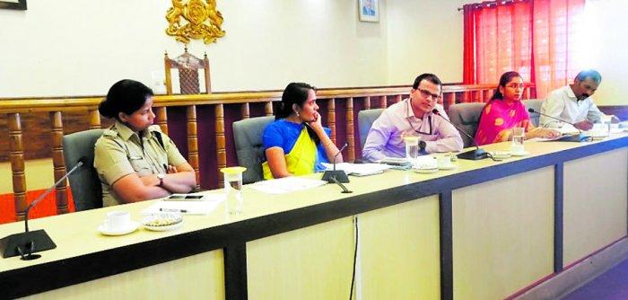 Kodagu-Mysuru Lok Sabha Election Expenditure Observer Sandeep Kumar Mishra chairs a meeting of nodal officers at the deputy commissioner's office in Madikeri on Friday.