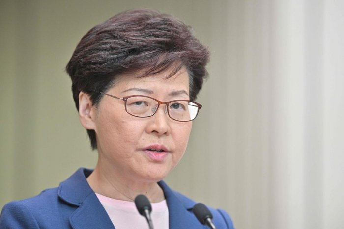Chief Executive Carrie Lam holds a press conference at the government headquarters in Hong Kong on July 9, 2019. AFP