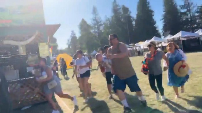 People run as an active shooter was reported at the Gilroy Garlic Festival, south of San Jose, California, U.S., July 28, 2019 in this still image taken from a social media video. (Courtesy of Twitter @wavyia/Social Media via REUTERS)