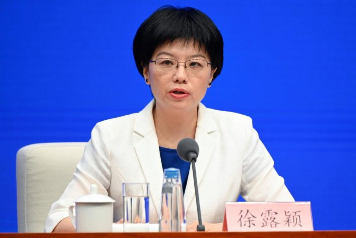 Xu Luying, spokesperson for mainland China's Hong Kong and Macao Affairs Office (HKMAO) of the State Council, speaks concerning the ongoing protests in Hong Kong, at a press conference in Beijing on July 29, 2019. AFP
