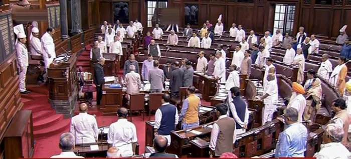 Rajya Sabha was adjourned briefly as Opposition raised the issue as MPs from Congress, BSP, APP, Trinamool Congress, SP, CPI(M), CPI, RJD and DMK among others demanded to suspend the business of the House to discuss the matter. (PTI Photo)
