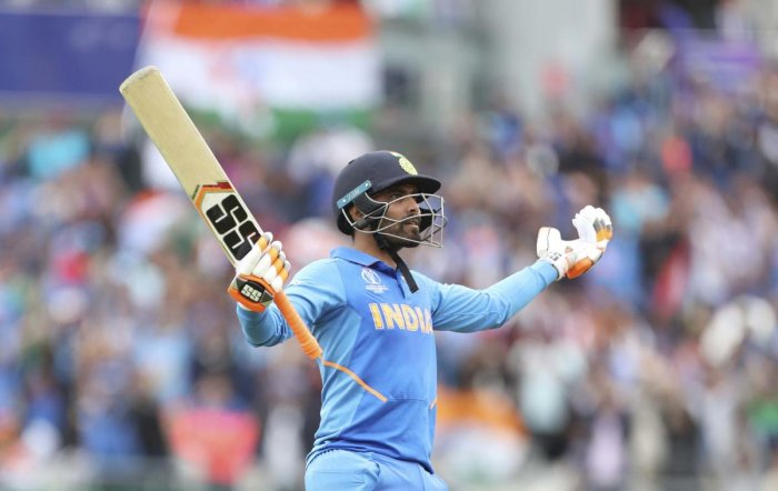 Ravindra Jadeja celebrates as he makes a statement with his half-century in the World Cup semi-final against New Zealand. Credit: AP
