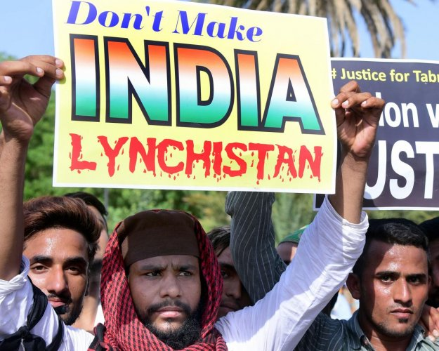 Muslim activists protest against the recent incidents of mob lynching, in Bikaner, Friday, June 28, 2019. (PTI Photo)