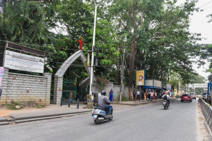 All Saints Church, people oppose tree cutting for Metro Rail project by BMRCL in All Saints Church, near Johnson Market, Vellara Junction, Hosuru road Bengaluru on Friday. Photo by S K Dinesh