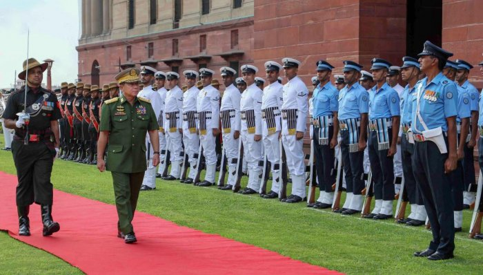 Myanmar's Commander-In-Chief of Defence Services Senior General Min Aung Hlaing inspects the Tri-Services guard of honour at South Block in New Delhi, on July 29, 2019. PTI