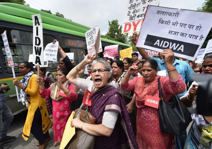 Women activists stage a protest demonstration over the Unnao case. (PTI)