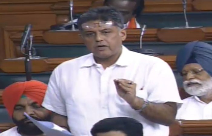 Congress MP Manish Tewari drew the attention of the House to the purported letter by the deceased businessman. (LSTV/Videograb)