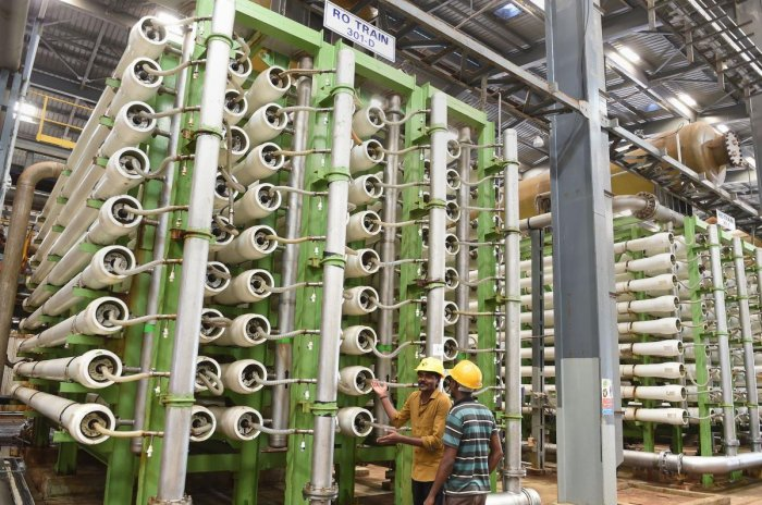 RO machines section of first phase of desalination plant, at Nemmeli located near Chennai (PTI Photo)