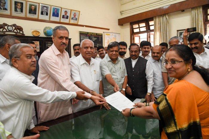 BJP MLA Vishweshwara Hegde Kageri, filed his nomination for the election of the President of the Assembly, to Karnataka Assembly secretary M K Vishalakshi, with support of Chief Minister Yeddyurappa, MLA Govinda M. Carazola, Jagdish Shettar, K.S. Eshwarap