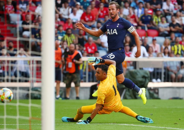 Tottenham's Harry Kane scores their first goal against Real Madrid in Munich (Reuters Photo)