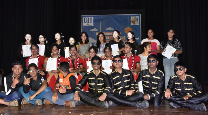 The winners and the first and second runners-up of the senior (left) and junior categories at the inter-school dance competition organised by Deccan Herald in Education on Tuesday. DH PHOTOS/B K JANARDHAN