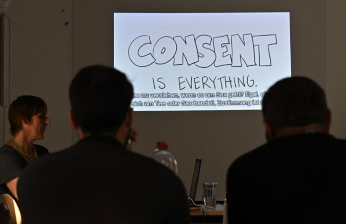 """People attend a four-hour course titled """"Together for Security"""", a sex education class for migrants in Berlin's Marzahn district. (AFP file photo)"""