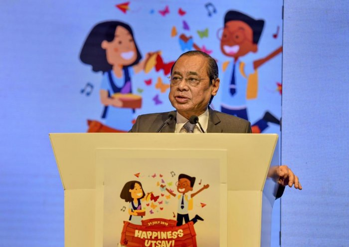 Chief Justice of India Ranjan Gogoi addresses the Happiness Education Conference 2019, in New Delhi (PTI Photo)