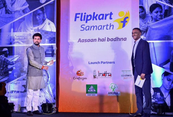 MoS of Finance and Corporate Affairs Anurag Thakur and Flipkart Group Chief Executive Officer Kalyan Krishnamurthy launch the Flipkart 'Samarth', an initiative to empower Indian artisans, weavers and craftsmen, in New Delhi, Wednesday, July 31, 2019. (PTI