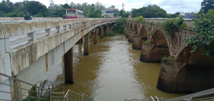 River Cauvery at Kushalnagar bridge. (DH Photo)