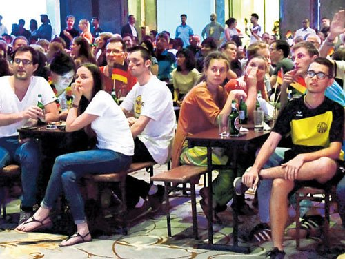 Big screen action revs up Euro football frenzy in city