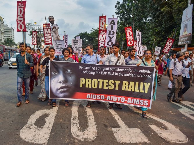 Various student organisations jointly protest against the Unnao rape incident. (PTI)