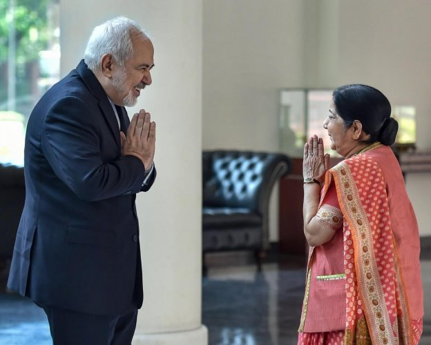 External Affairs Minister Sushma Swaraj greets Iranian Foreign Minister Mohammad Javad Zarif as he arrives for a meeting, in New Delhi, Tuesday, May 14, 2019. (PTI Photo)