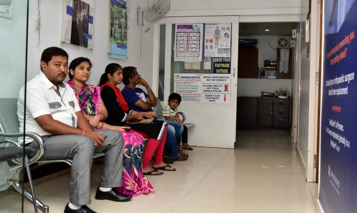 The outpatient department at the Shekhar Hospital, Basavanagudi, functioned as usual on Saturday. dh photo