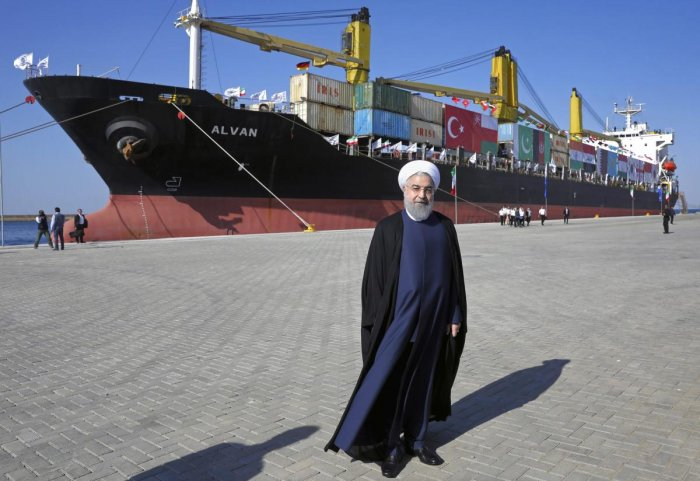 Iranian President Hassan Rouhani poses during the inauguration a newly built extension of the port of Chabahar, near the Pakistani border, on the Gulf of Oman, southeastern Iran, Sunday, Dec. 3, 2017. AP/PTI