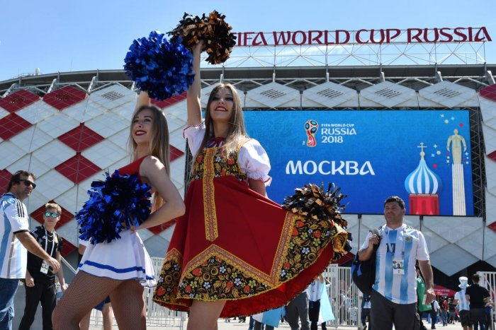 Women pose before the Russia 2018 World Cup Group D football match between Argentina and Iceland at the Spartak Stadium in Moscow. (AFP File Pic)