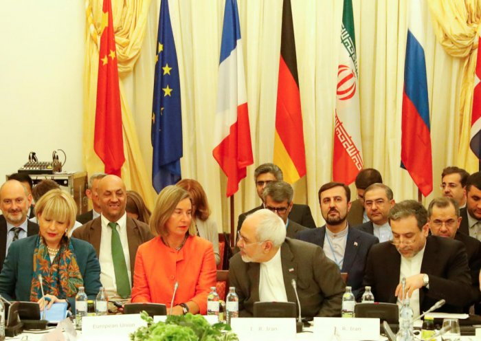 European Union High Representative for Foreign Affairs and Security Policy Federica Mogherini and Iran's Foreign Minister Mohammad Javad Zarif attend a meeting in Vienna. REUTERS Photo