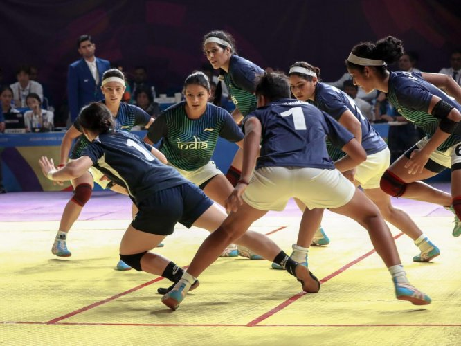 SAVING GRACE Indian women in action against Chinese Taipei during the kabaddi semifinal in Jakarta on Thursday. PTI
