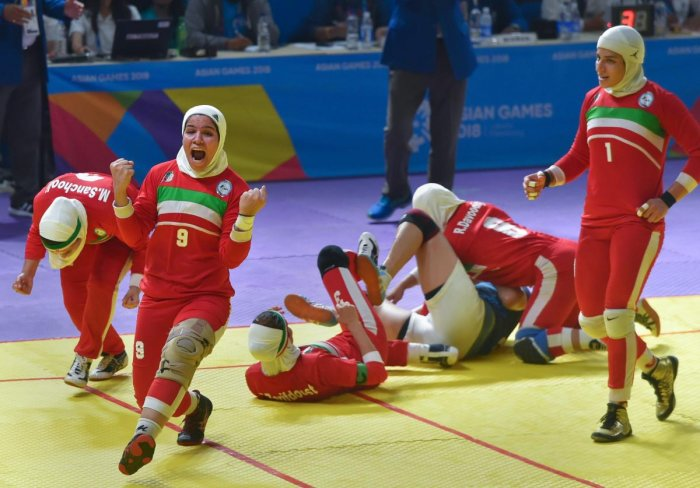 THE BIG MOMENT: Iranian players celebrate after defeating India in the women's kabaddi final in Jakarta on Friday. PTI