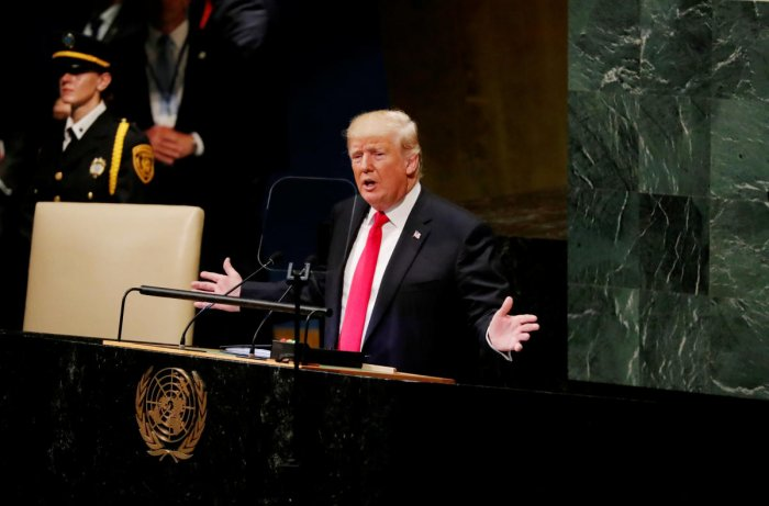 US President Donald Trump addresses the 73rd session of the United Nations General Assembly at UN headquarters in New York on September 25, 2018. Reuters