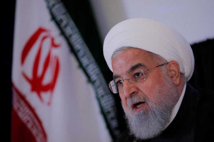 """""""Everyone knows that America has lost legally and politically by giving up on its international obligations and that we have achieved victory,"""" said President Hassan Rouhani in a speech at the University of Tehran. (Reuters File Photo)"""