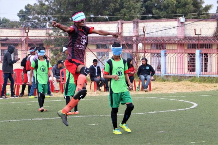 The players of Indian Blind Football team during one of the recent football tournaments.