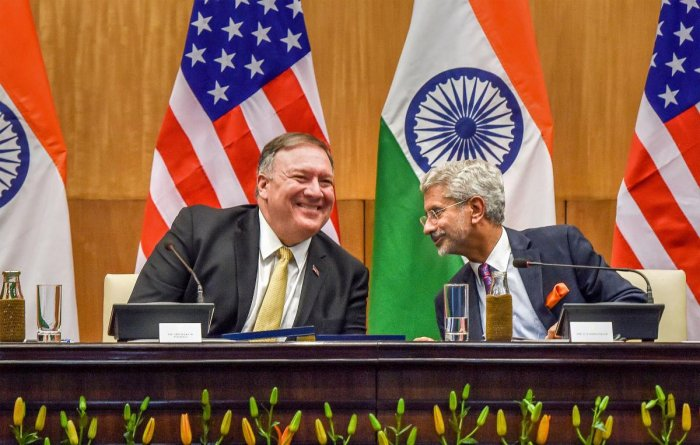 External Affairs Minister S Jaishankar and US Secretary of State Mike Pompeo during their joint press conference following a meeting, in New Delhi on June 26, 2019. PTI