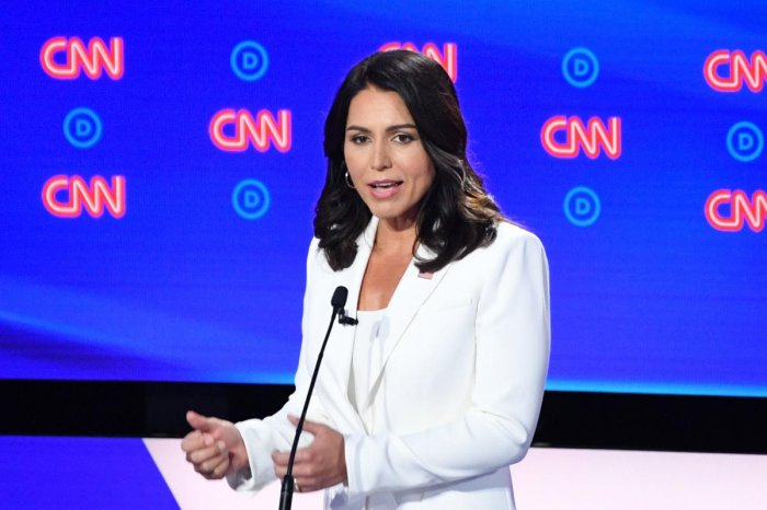 Democratic presidential hopeful US Representative for Hawaii's 2nd congressional district Tulsi Gabbard speaks during the second round of the second Democratic primary debate of the 2020 presidential campaign season hosted by CNN at the Fox Theatre in Det