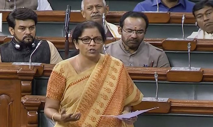 Finance Minister Nirmala Sitharaman speaks in the Lok Sabha during the ongoing Budget Session of Parliament, in New Delhi, Thursday, Aug 1, 2019. (LSTV/PTI Photo)