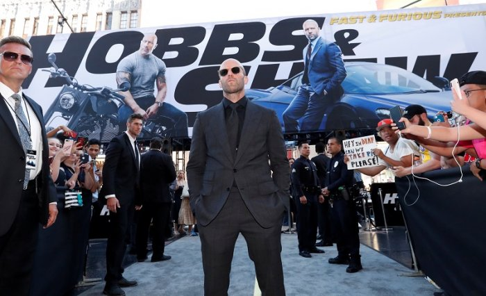 """Cast member and producer Jason Statham arrives at the premiere for """"Fast & Furious Presents: Hobbs & Shaw"""" in Los Angeles, California. (Reuters Photo)"""