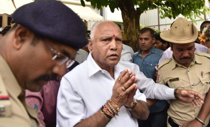 Yediyurappa, who has won a confidence vote in the Karnataka Assembly, took blessing of Swamiji and stayed for the night in the Ashram.