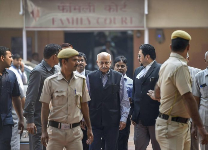 New Delhi: MJ Akbar, who resigned as union minister, at Patiala House Courts in New Delhi, Wednesday, Oct 31, 2018. Akbar filed a private criminal defamation complaint against journalist Priya Ramani who recently levelled charges of sexual misconduct agai