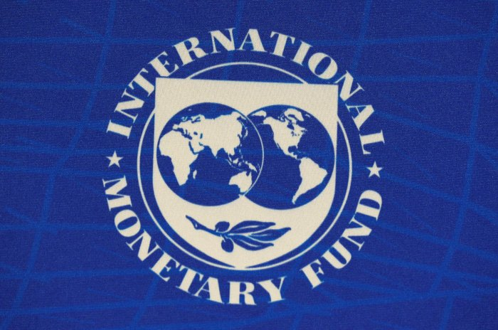 The logo of the International Monetary Fund (IMF). (Photo by REUTERS)