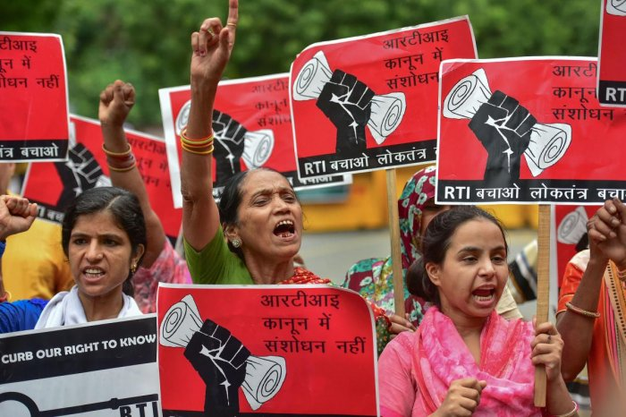 Protestors raised slogans against the amendments to the Right to Information Act proposed by the government, at Jantar Mantar, in New Delhi. (PTI Photo)