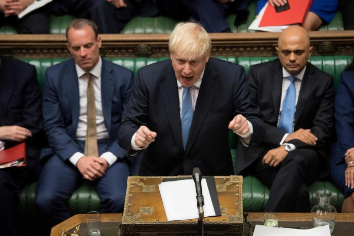 Britain's Prime Minister Boris Johnson speaking in the Houses of Parliament in central London. (AFP Photo)