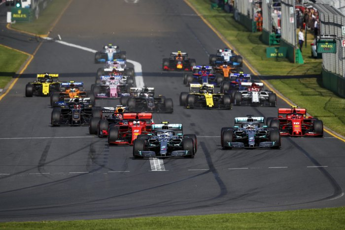 Valtteri Bottas leads Mercedes team-mate Lewis Hamilton into the first corner of the Australian Grand Prix. Picture credit: Mercedes